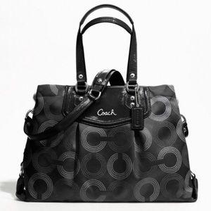 Coach Ashley Dot Op Art Shoulder Bag Black Grey
